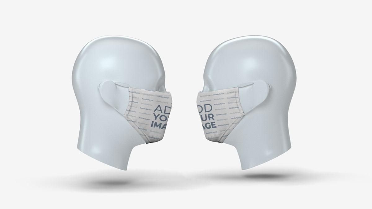 Duas Máscaras Faciais em Cabeças de Manequim