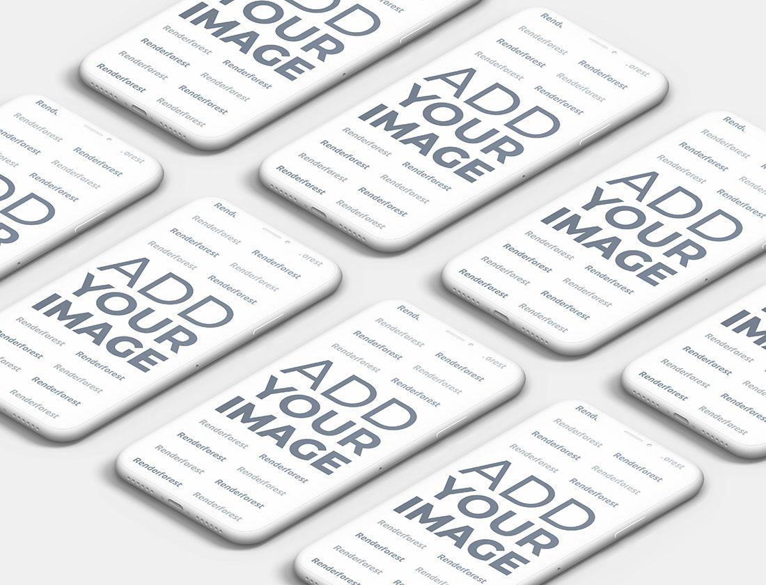 Pembe Yüzey Üzerinde İzometrik Hamur iPhone'lar