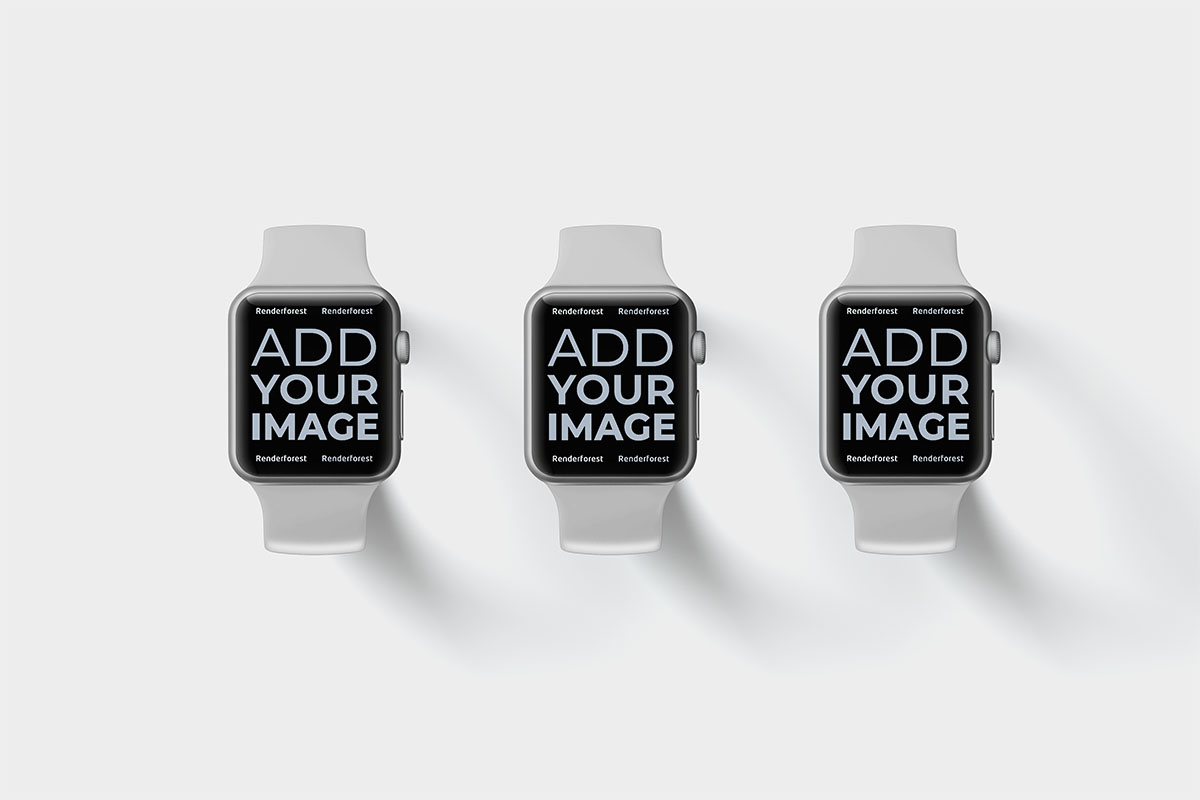 Three Tied Apple Watches on a Beige Surface