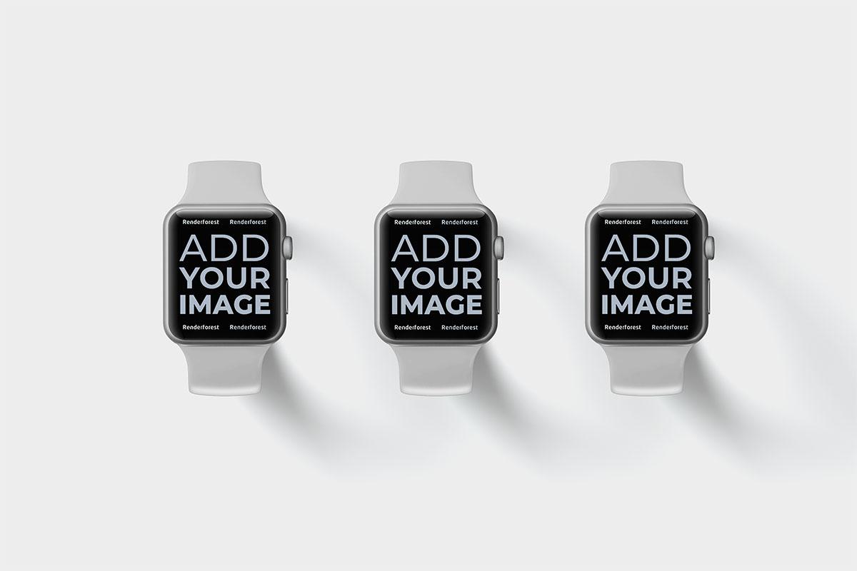 Trois Apple Watches attachées sur une surface beige