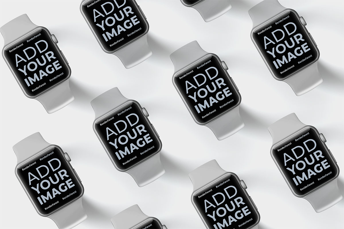 Tied Isometric Apple Watches on a Black Surface