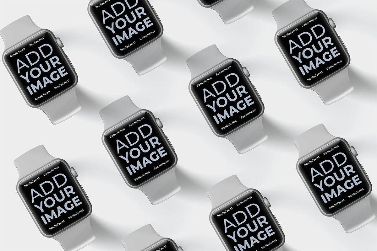 Apple Watches isométriques attachées sur une surface noire
