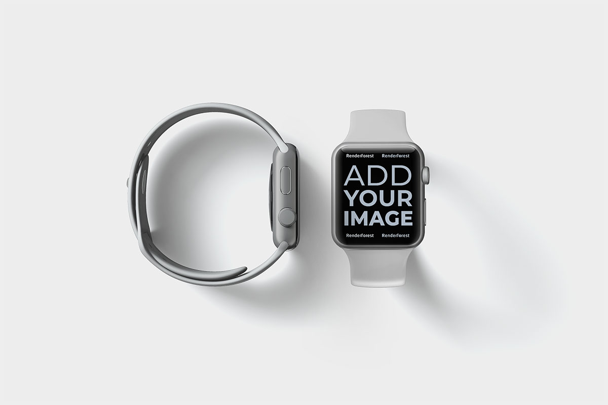 Two Apple Watches Front and Side View