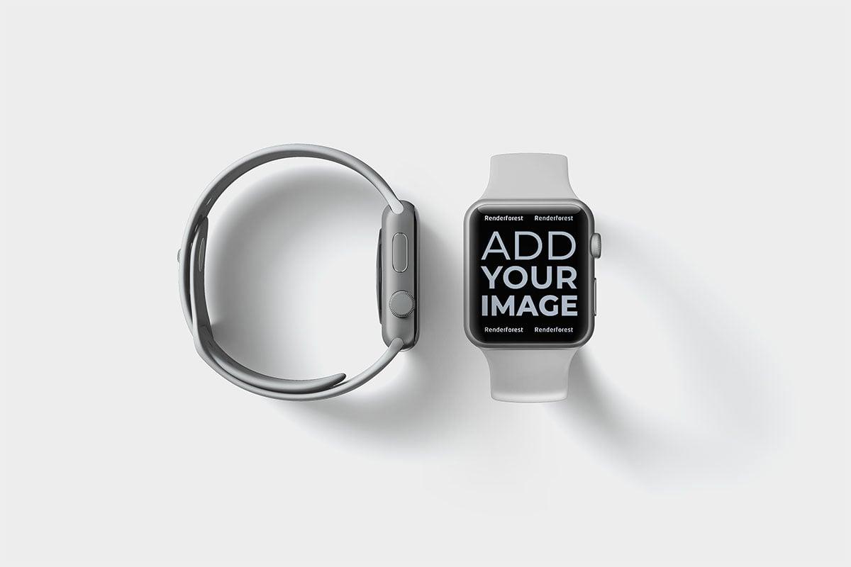 Deux Apple Watches, vues de face et de côté