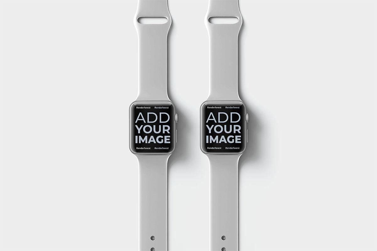 Deux Apple Watches sur une surface beige