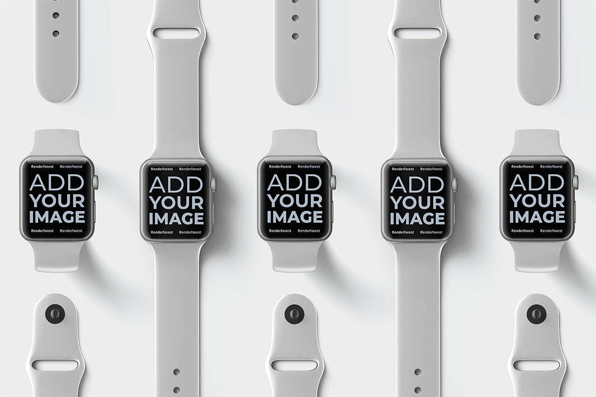 Multiple Apple Watches on a Beige Surface