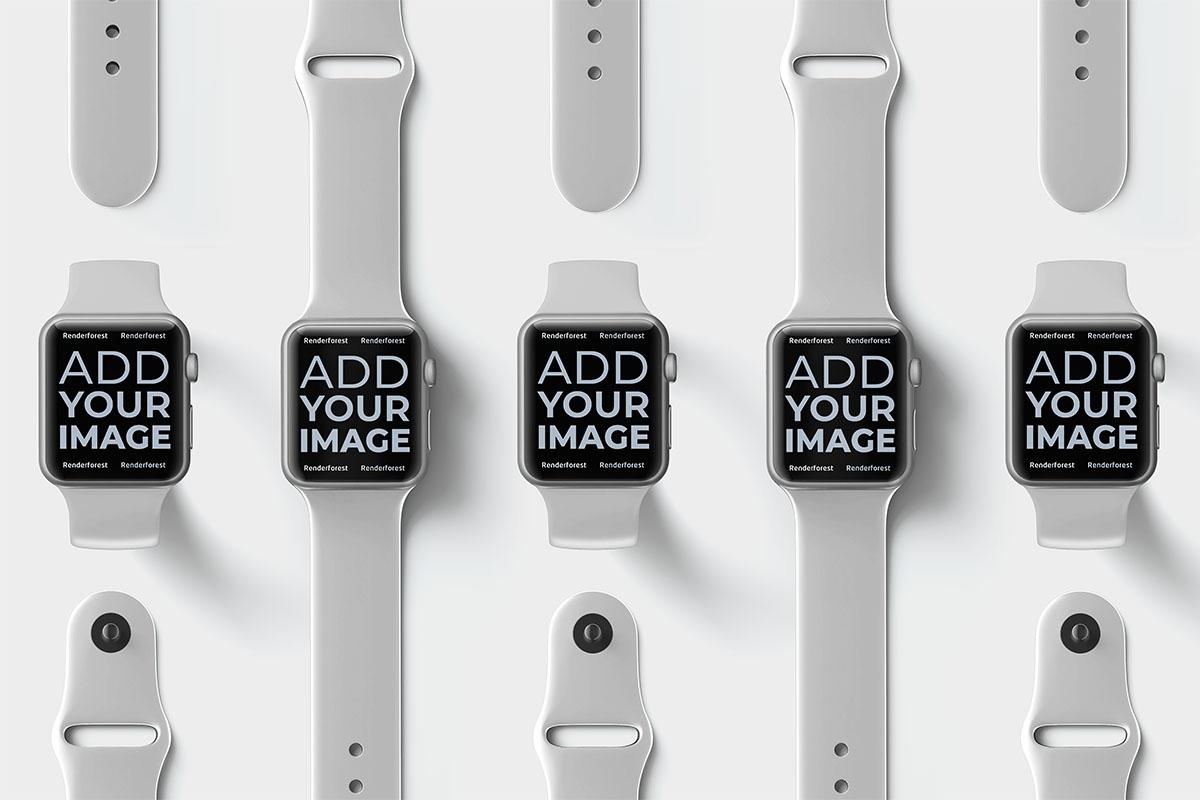 Plusieurs Apple Watches sur une surface beige