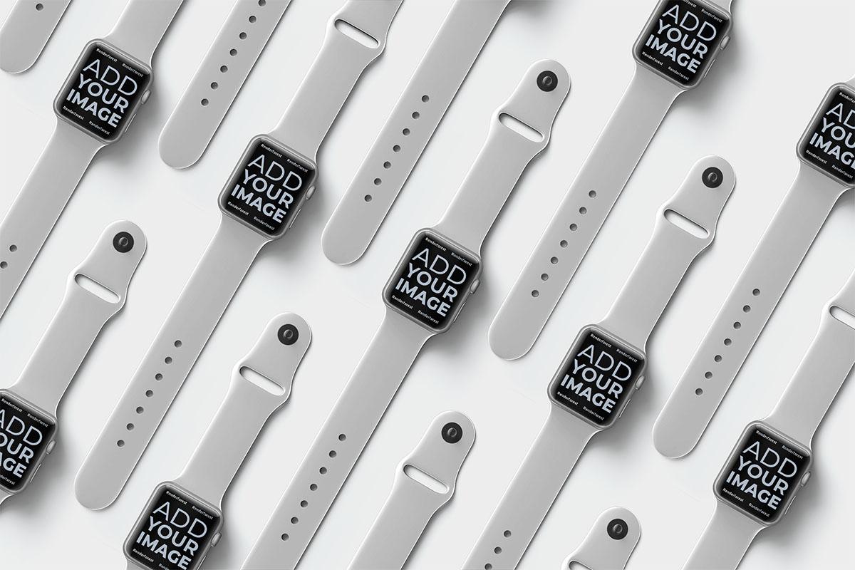 Apple Watches isométriques sur une surface noire