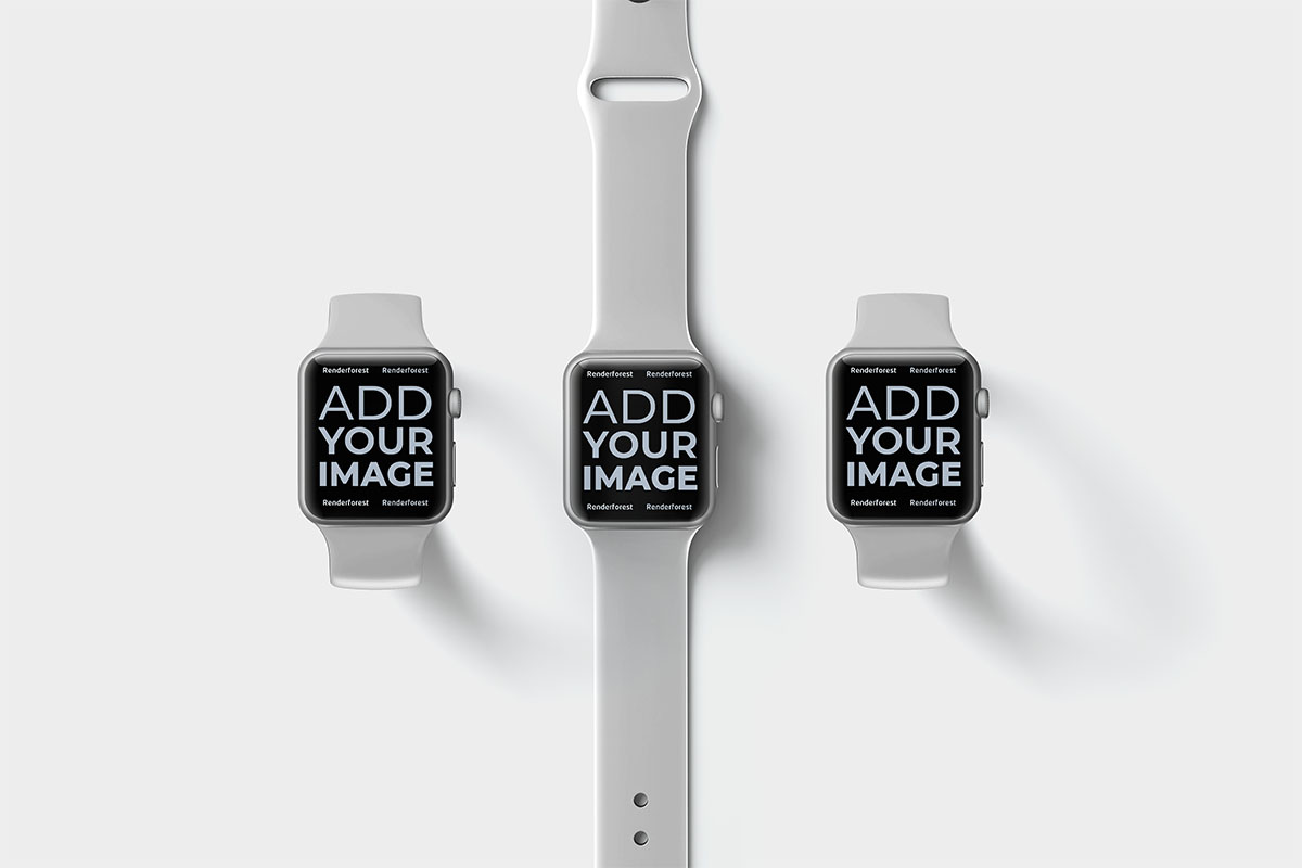 Three Apple Watches on a Beige Surface