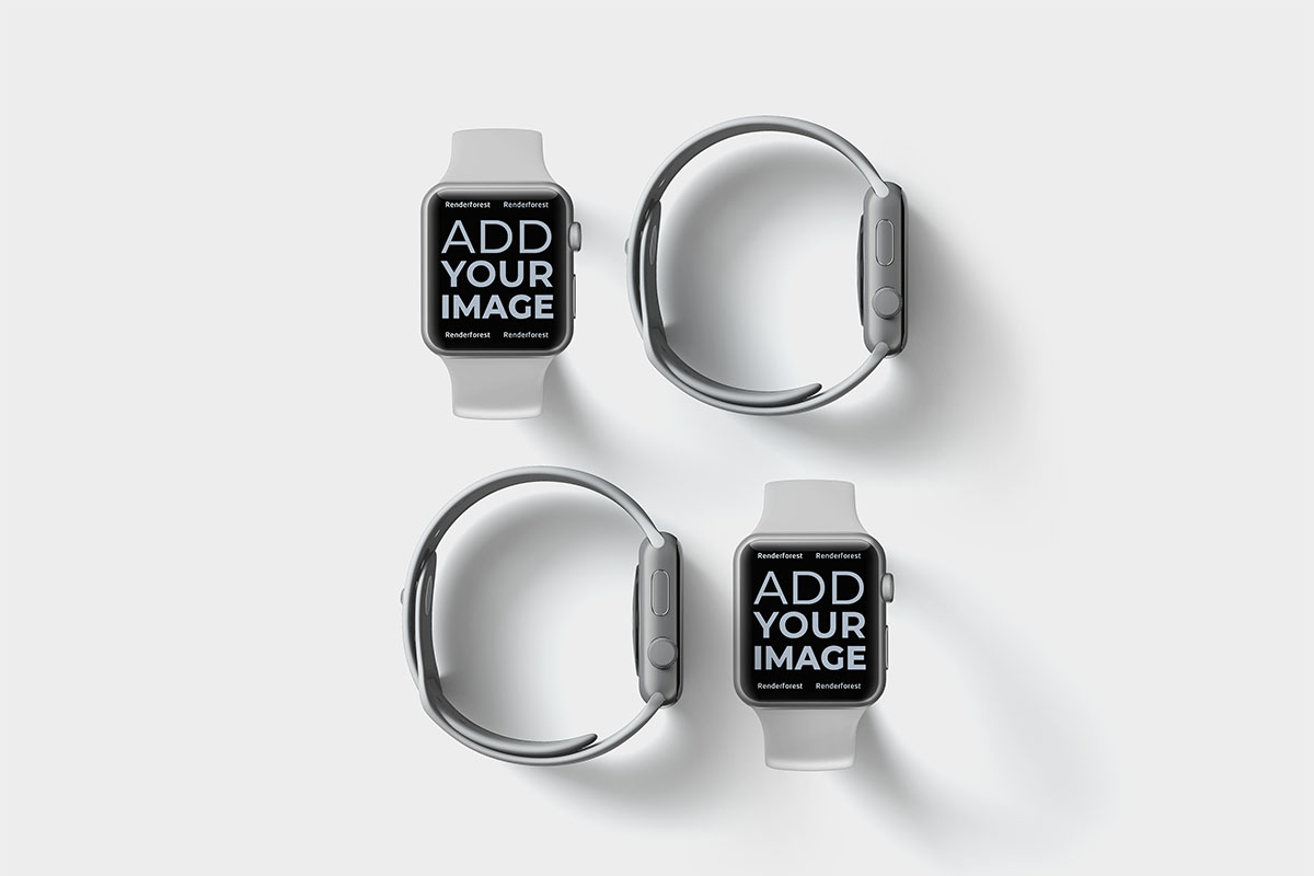 Four Apple Watches Front and Side View