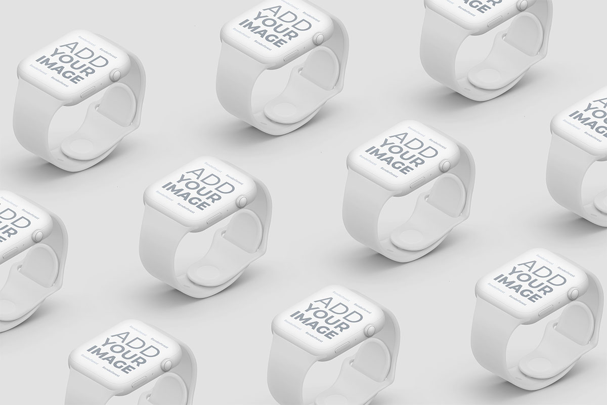 Isometric Apple Watches on a Beige Surface