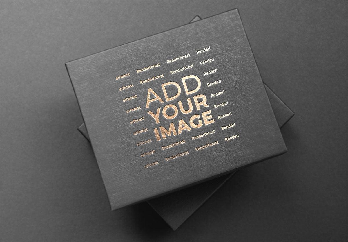 Logo on a Black Cardboard Box