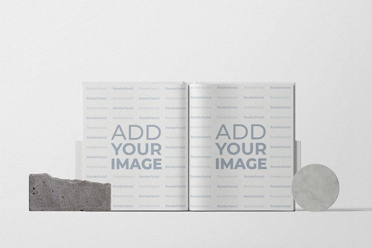 Livre ouvert avec décorations en pierre