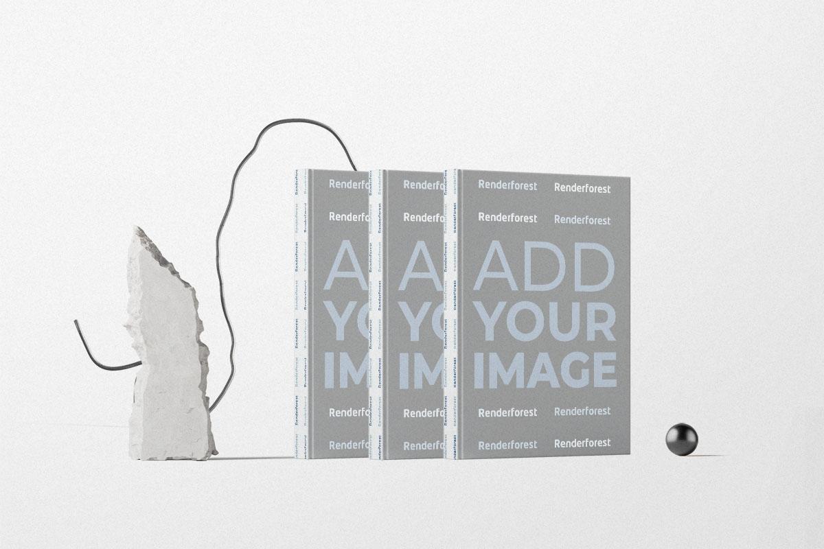 Trois livres avec décorations en pierre et en cordon