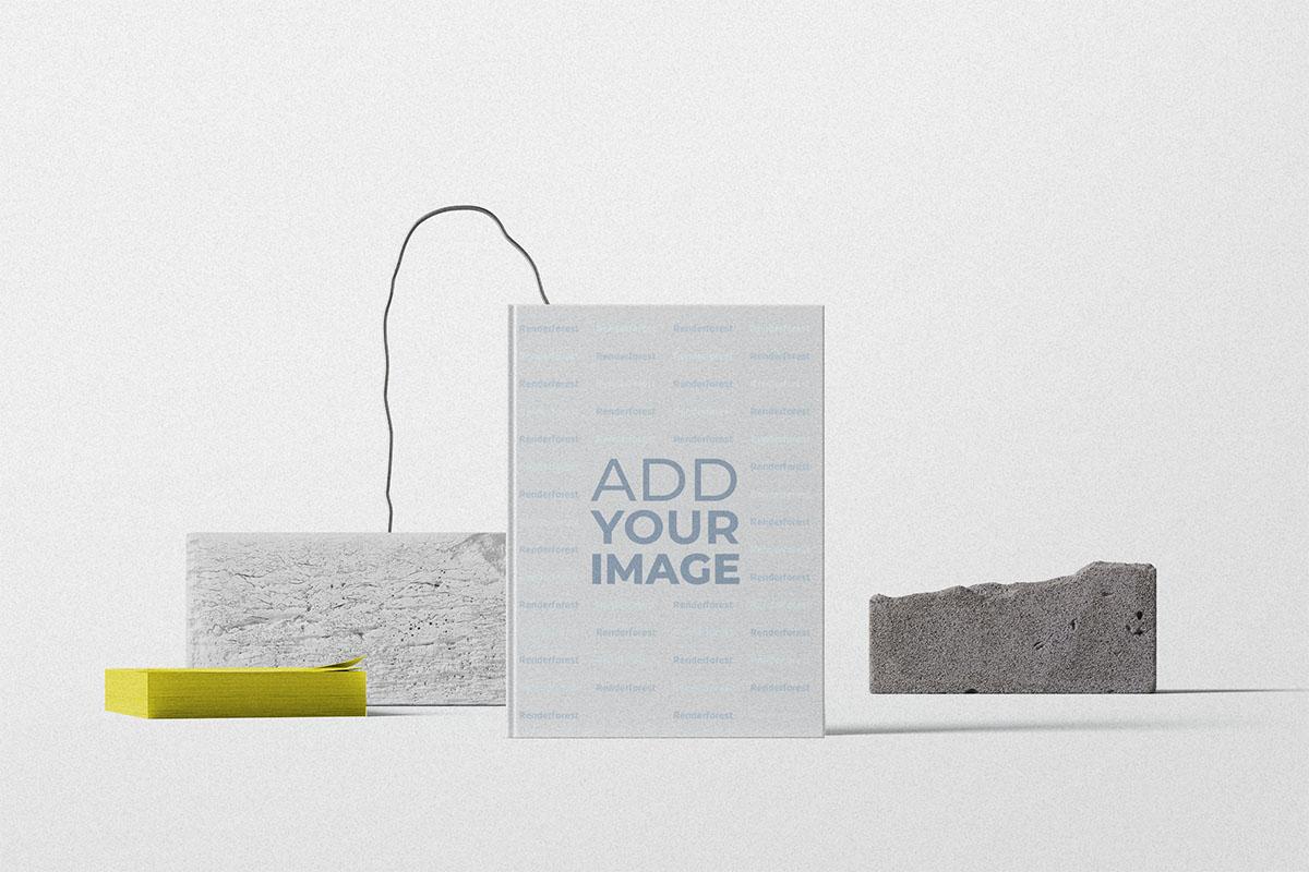 Livre vertical avec décorations en pierre