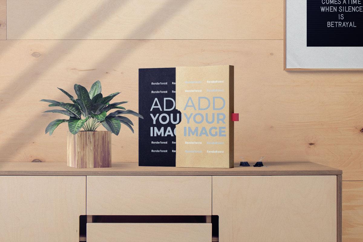 Livre avec son étui et un pot de plantes sur une armoire
