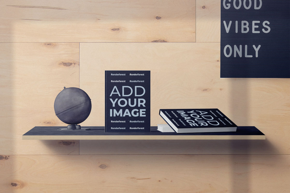 Livres et globe terrestre sur un bureau fixé au mur