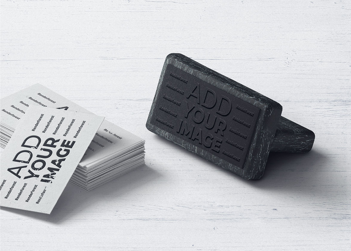 Stack of Business Cards with a Stamp