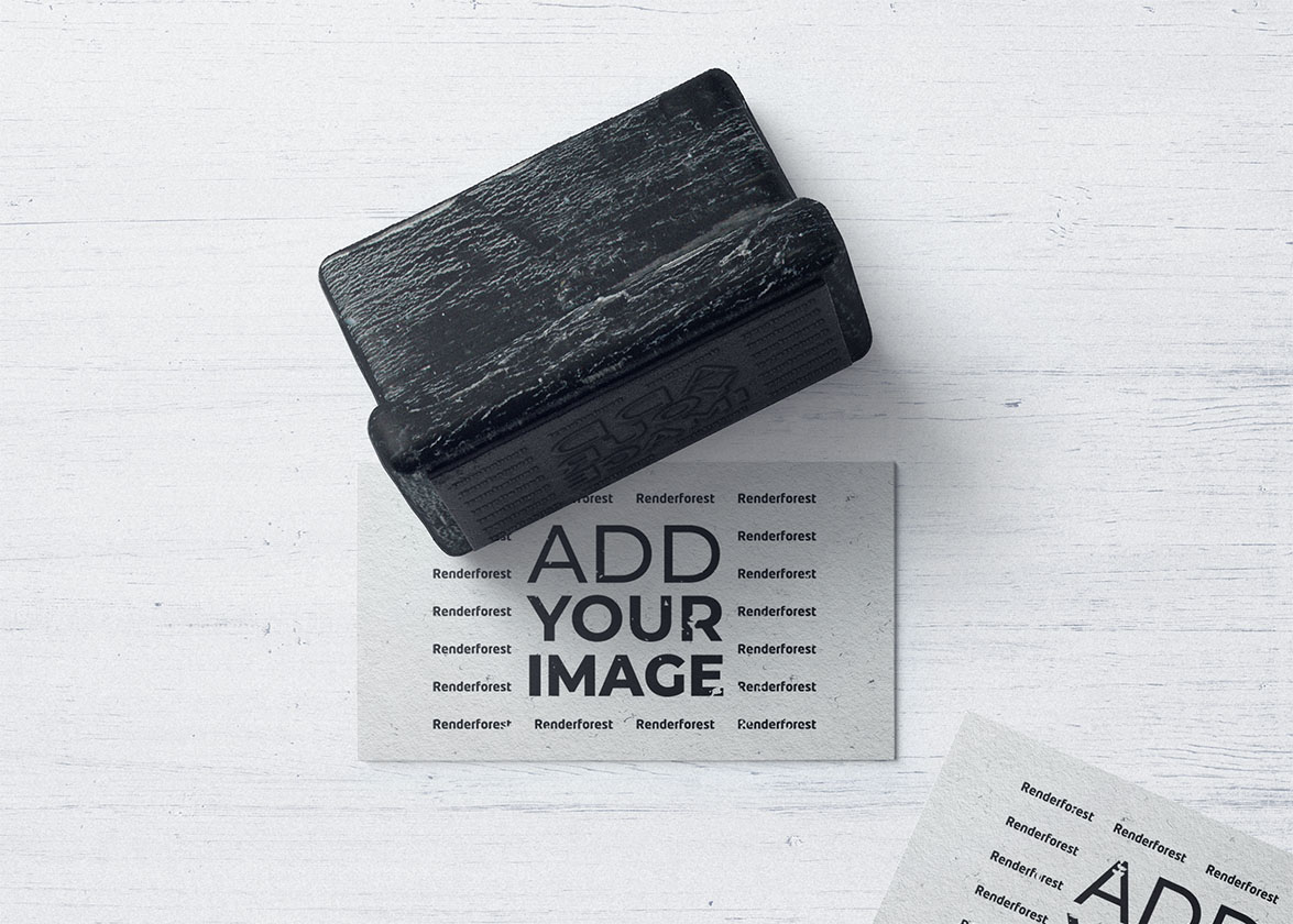 Business Cards with a Wooden Stamp