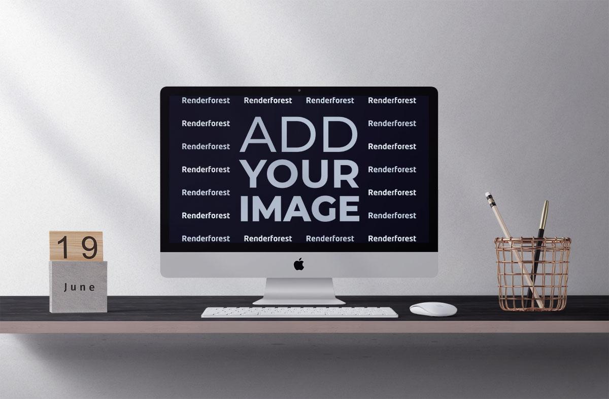 Современный компьютер iMac, канцелярские принадлежности