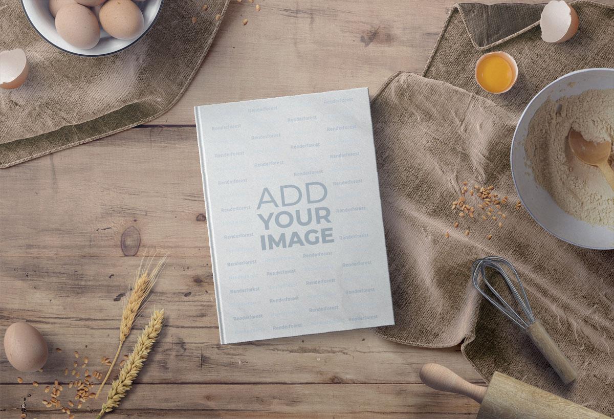 Back-Kochbuch auf einem Küchentisch