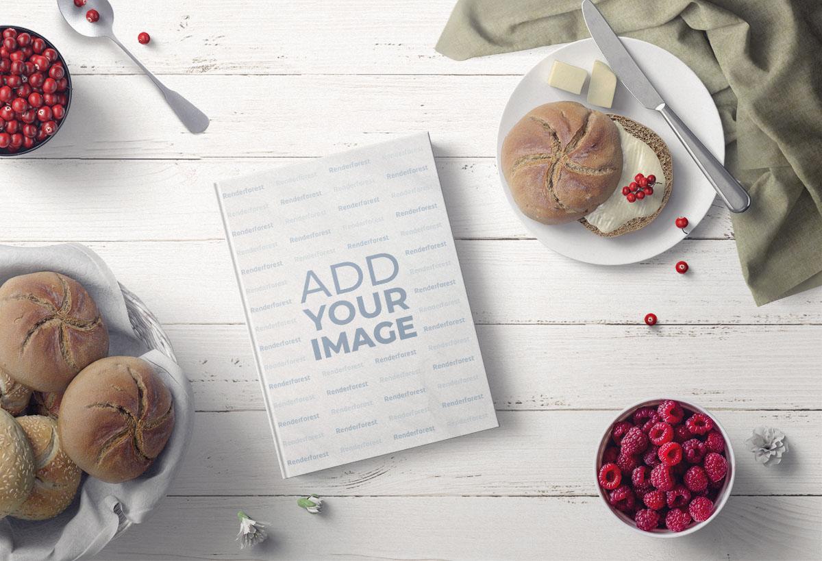 Kochbuch mit leckeren Keksen und Beeren