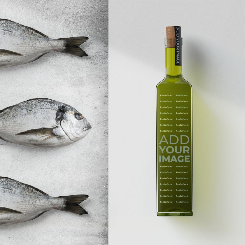 Garrafa de Azeite com Peixes ao Lado