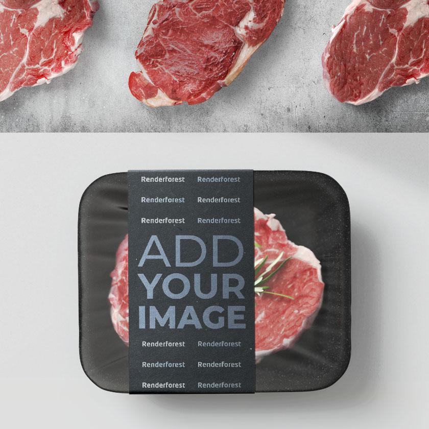 Embalagem de Carne com Bifes