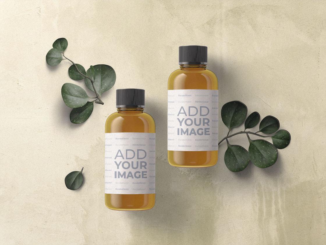 Zwei Bio-Kosmetikflaschen mit Pflanzenzweigen