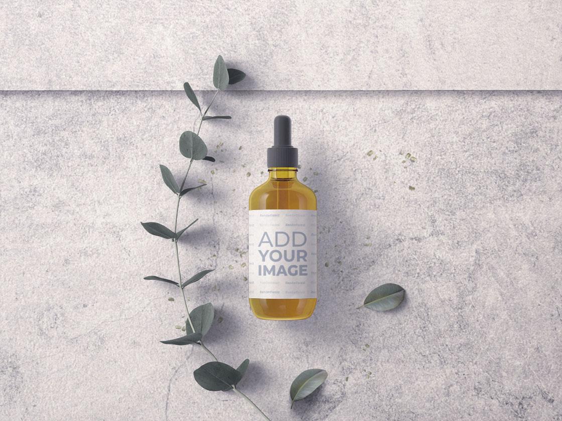 Hautpflege-Tropfflasche mit Pflanzenzweig