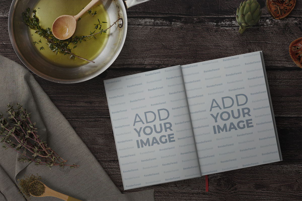 Open Recipe Book on a Cooking Table