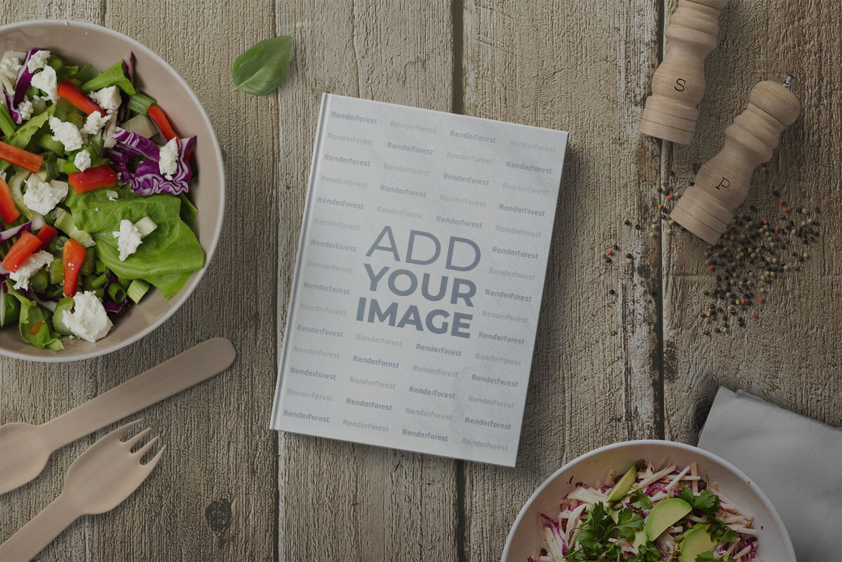 Recipe Book with Salad Bowls and Spices