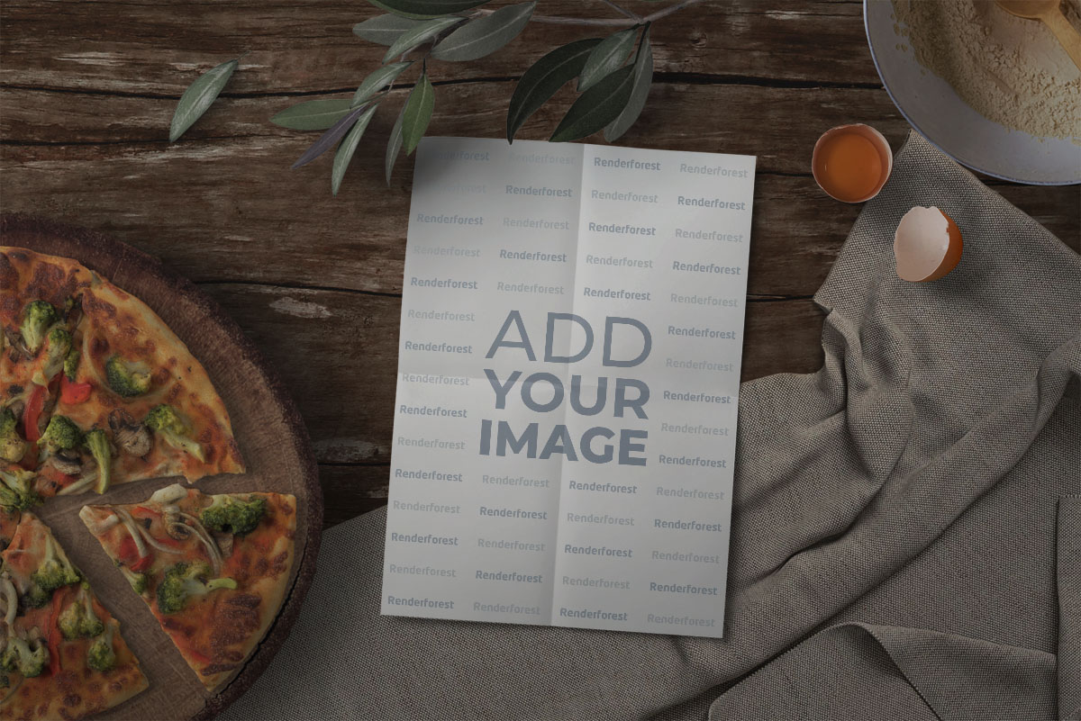 Recipe Book with Pizza and Bay Leaves