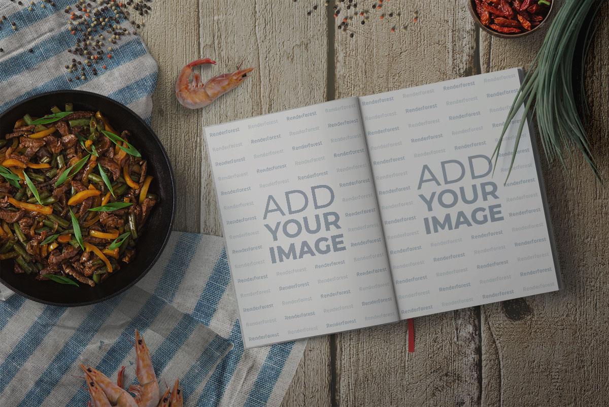 Livre de recettes ouvert avec fruits de mer et épices