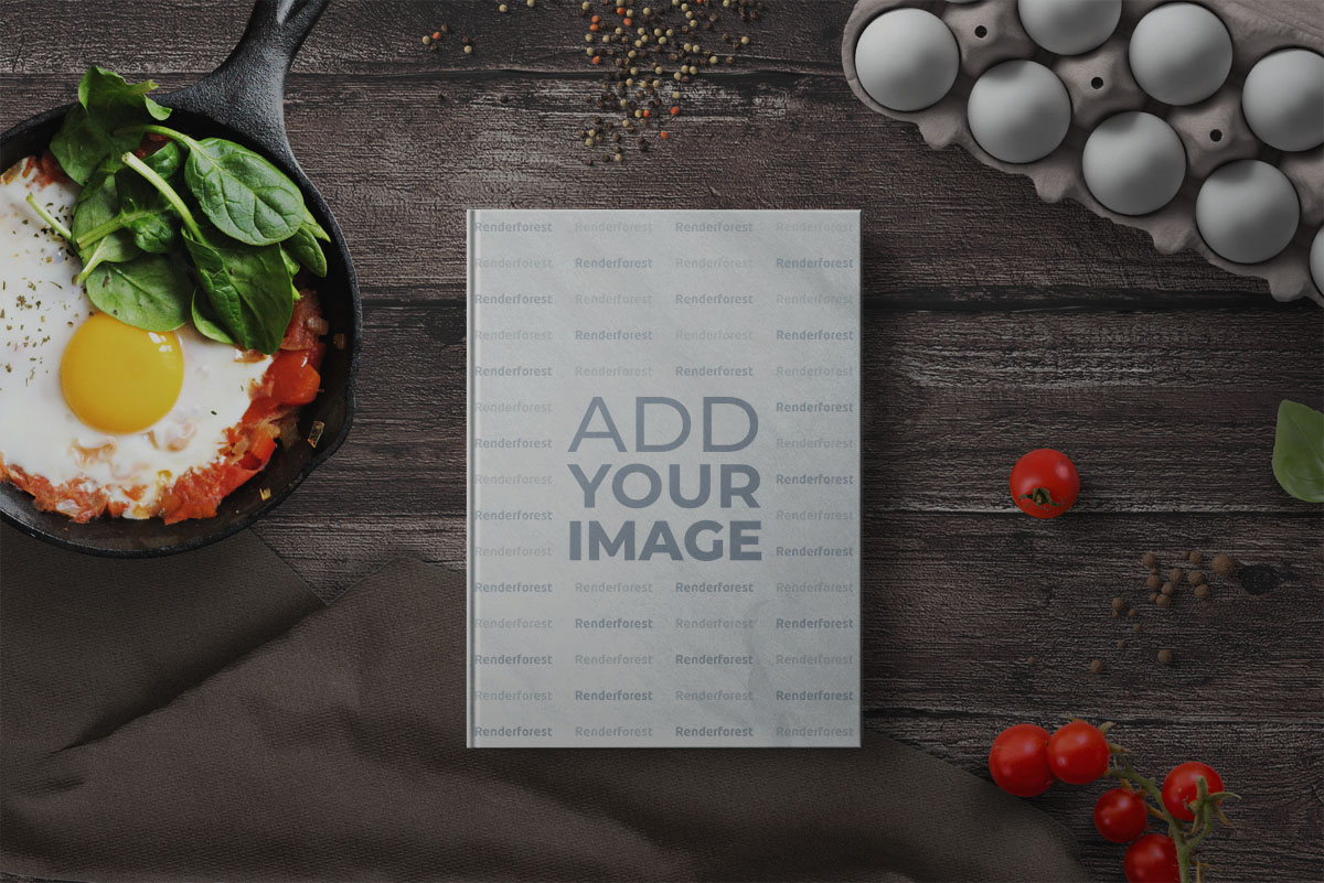 Recipe Book with Eggs and Tomatoes