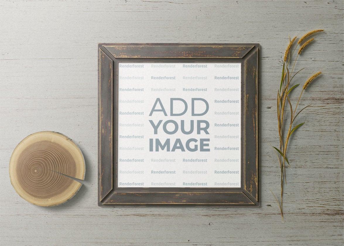 Cadre carré en bois avec un tronc et des épis de blé