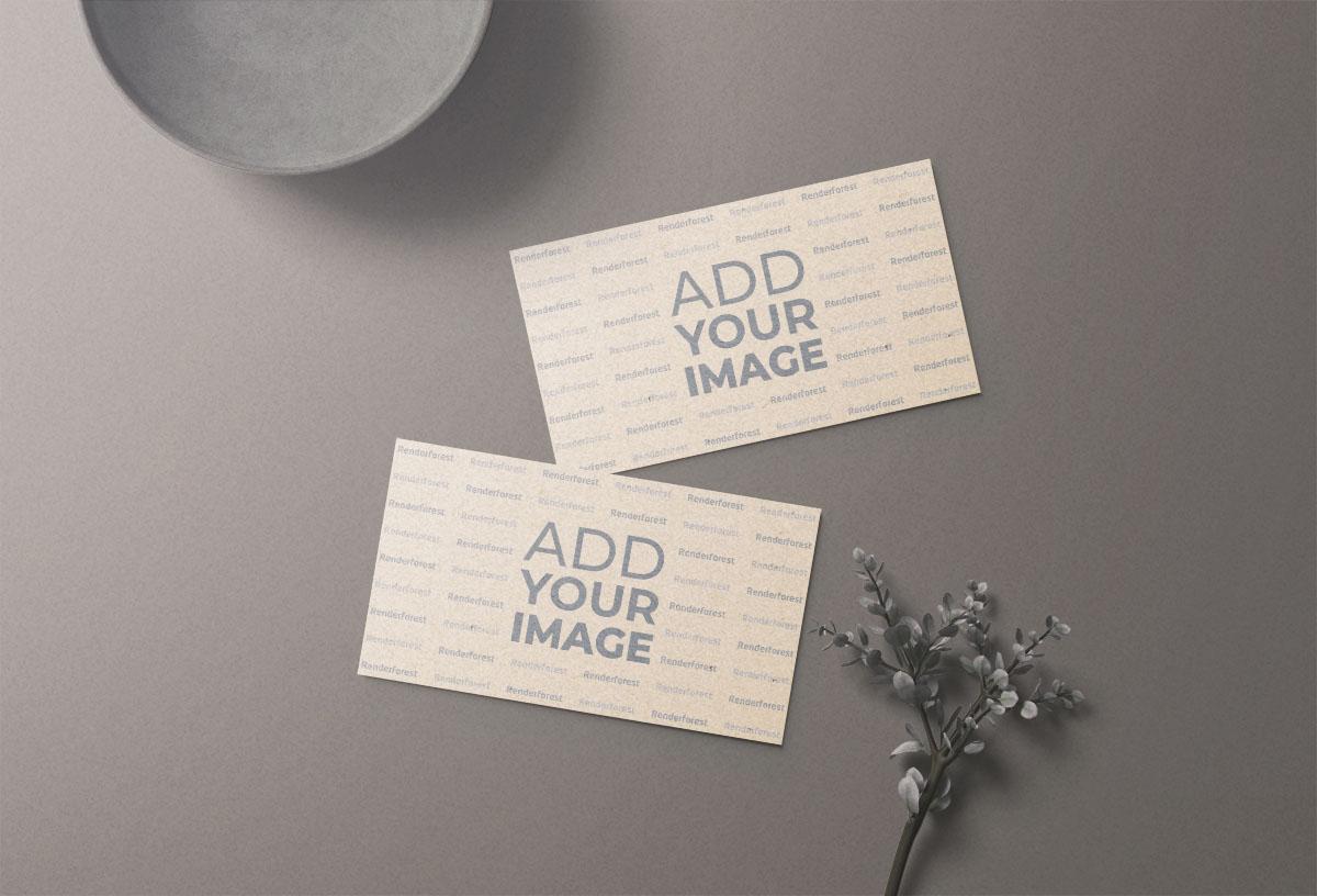 بطاقتا عمل مع نبات وديكور