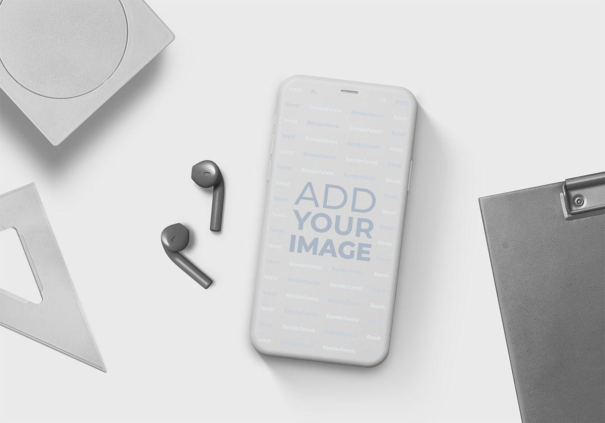 iPhone e AirPods com Itens de Escritório