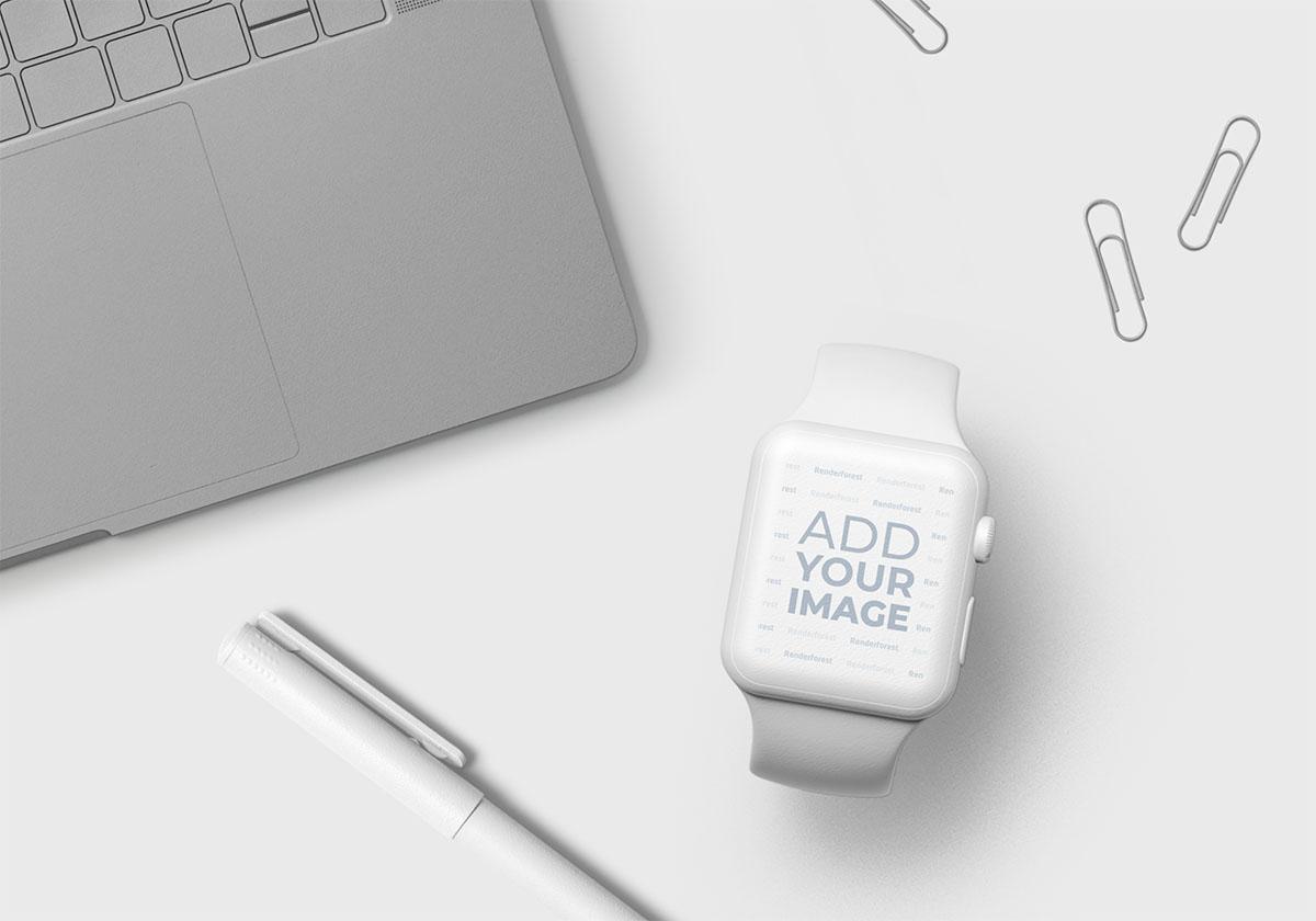 Apple Watch, Teclado e Itens de Escritório