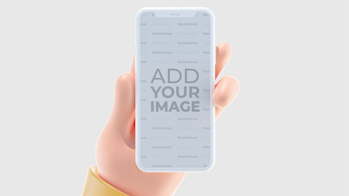 يد ثلاثية الأبعاد تمسك أيفون أفقيًا