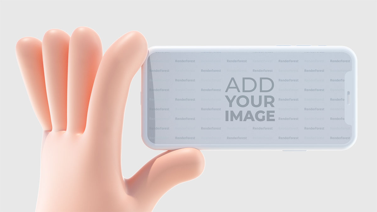 iPhone'u Yatay Tutan 3D El