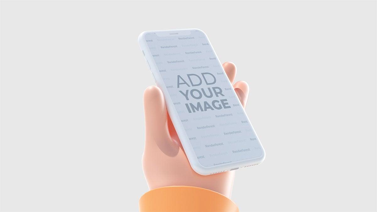 يد ثلاثية الابعاد تمسك أيفون من منظور الجانب الأيسر