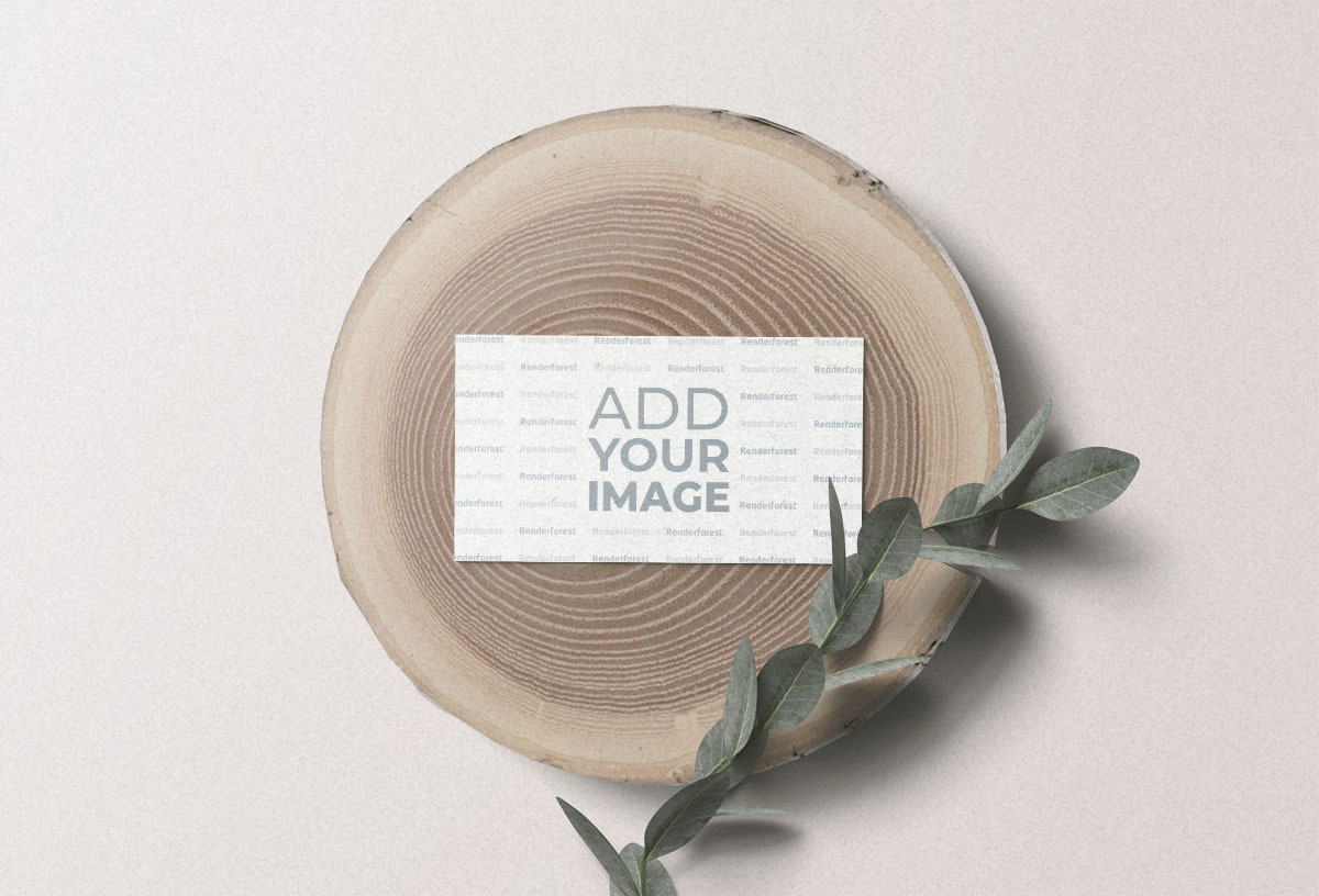 Business Card and a Plant on a Log
