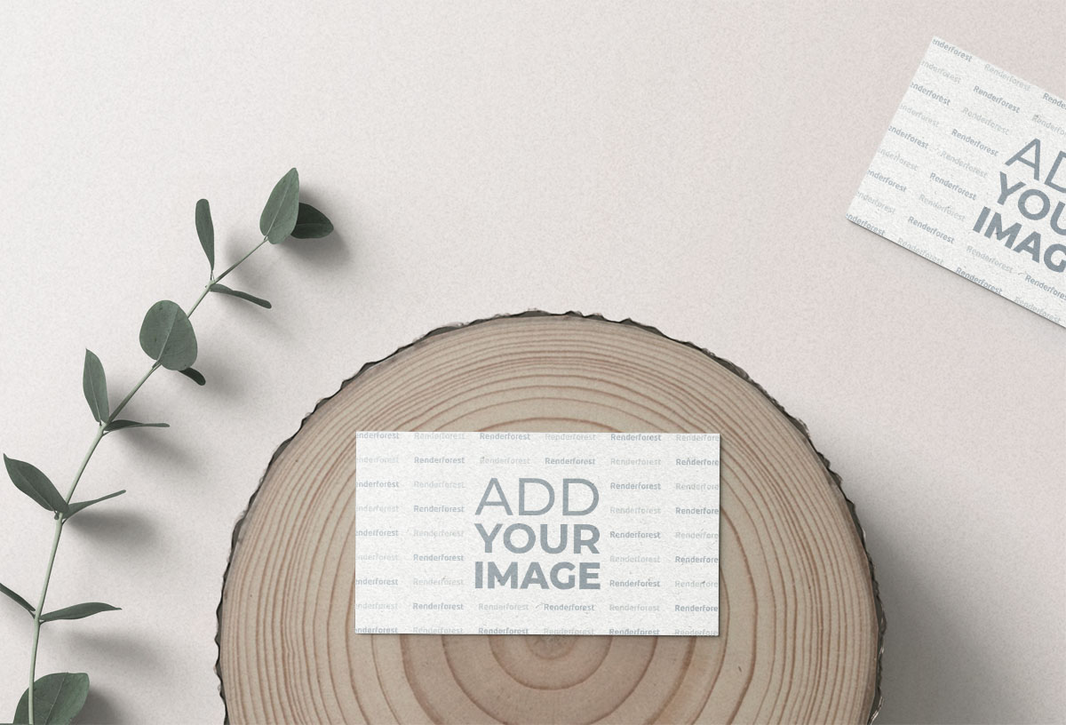 Two Business Cards, One on a Log