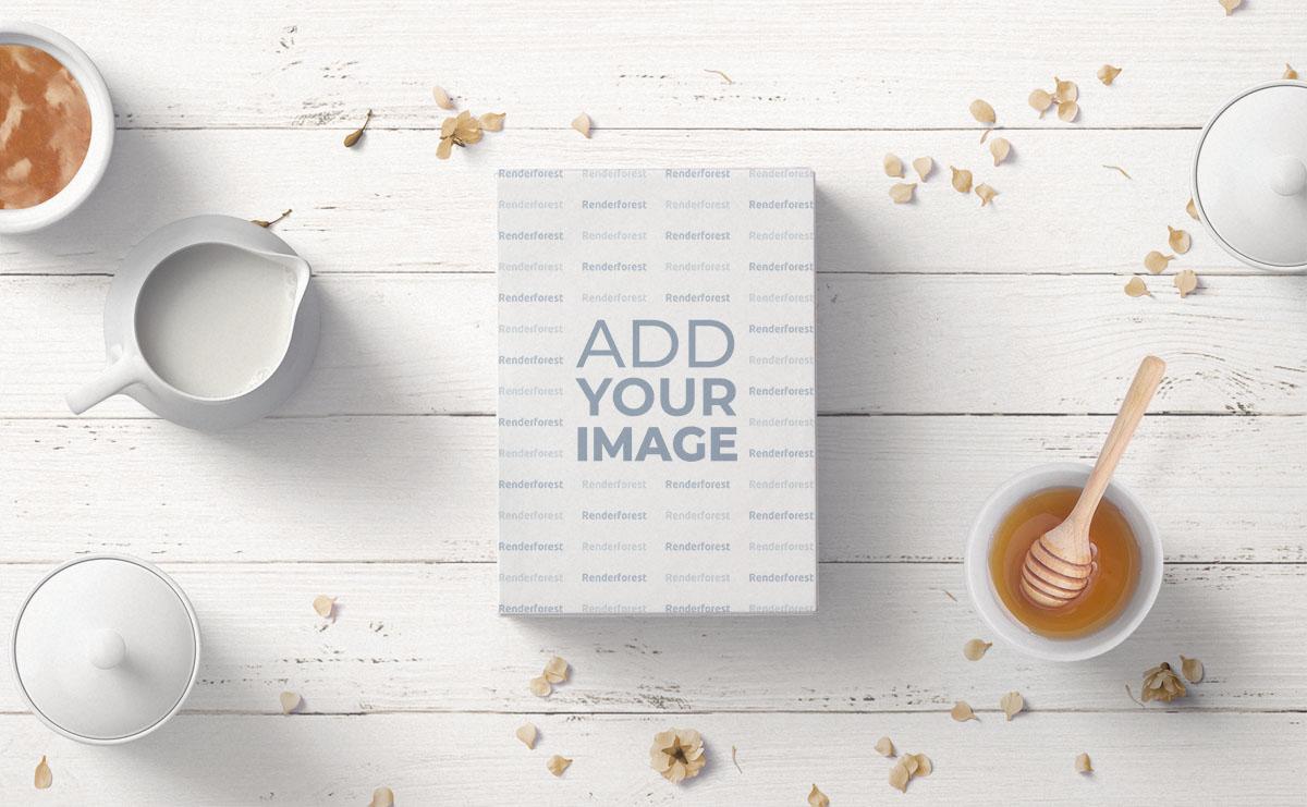 Caixa de Embalagem de Chá em um Fundo de Madeira