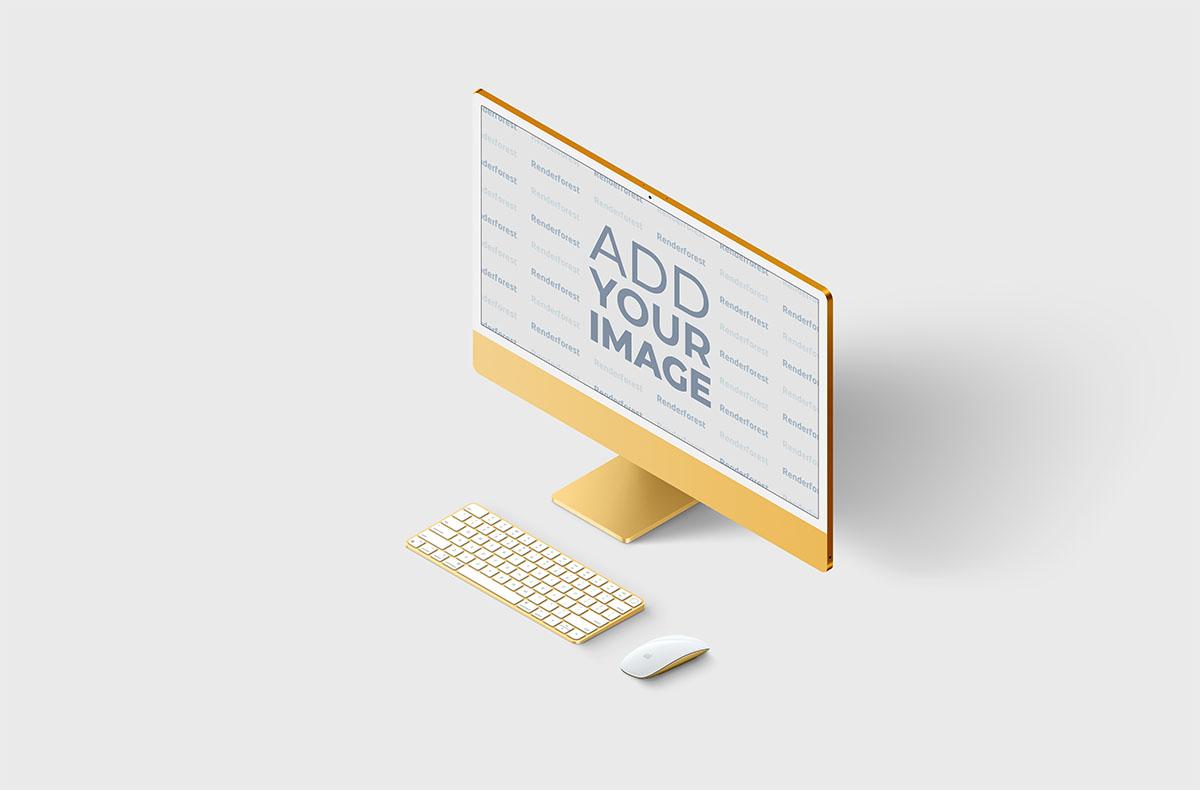 Set de iMac - vista superior de lateral derecha