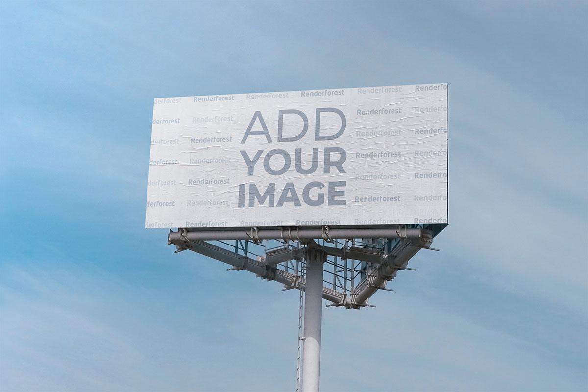 Highway Billboard on a Sky Background