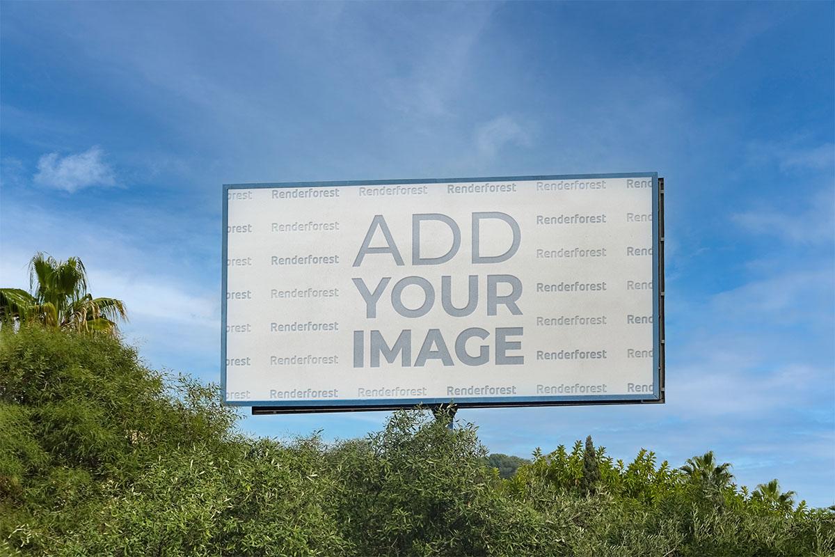 Horizontal Billboard Above Trees and Shrubs