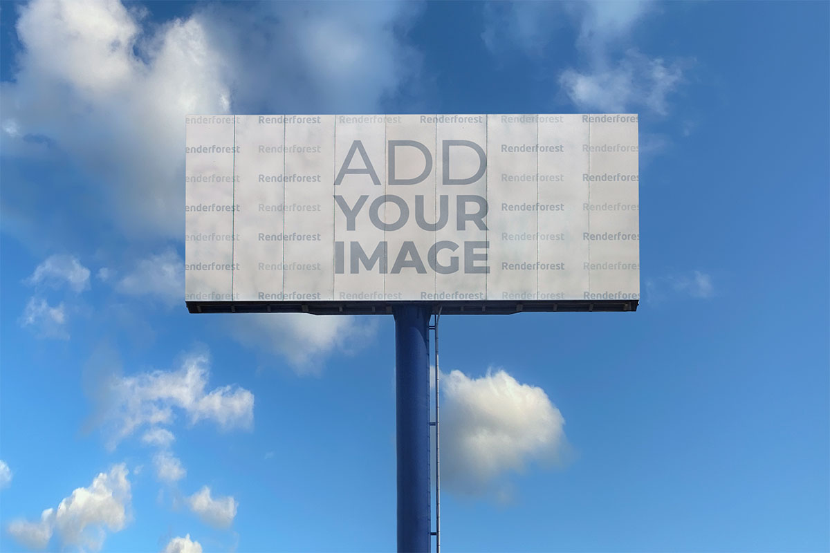 Highway Billboard on a Blue Sky Background