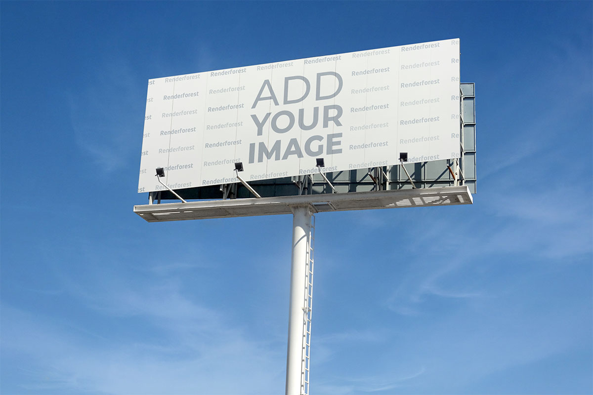 Highway Billboard Low Right Angle View